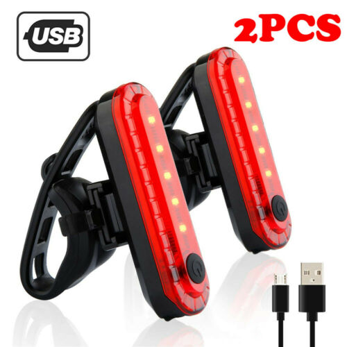 2pc USB Rechargeable Bike Bicycle Cycling 4 Modes LED Front Rear Tail Light Lamp