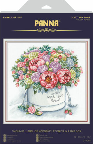 """Counted Cross Stitch Kit PANNA C-7058 /""""Peonies in a Hat Box/"""""""