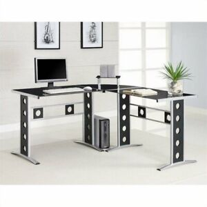 Corner L-Shaped Glass Top Computer Desk in Black