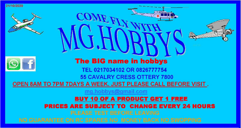 rc plane mg hobbys open 7 days a week 8am to 7pm