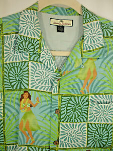 b8768421 Tommy Bahama Hawaiian Hula Girl Dancer Green Aloha Camp Shirt 100 ...
