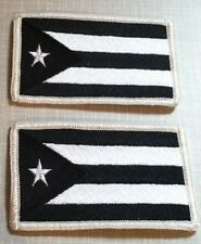 2 PUERTO RICO Flag Patch with VELCRO® brand fastener Military Black & White #7