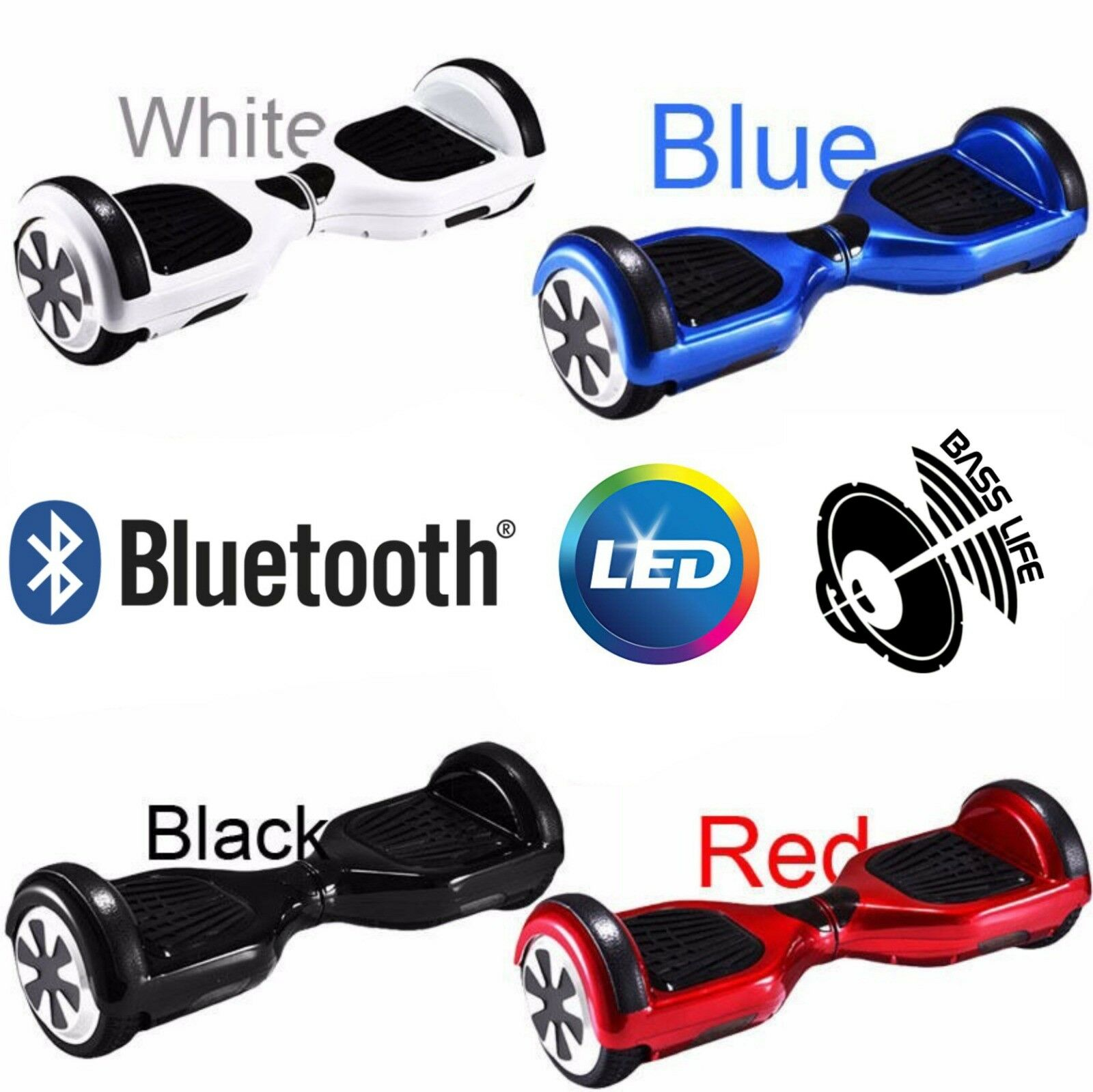 OVERBOARD 6,5 HOVERBOARD SMART BALANCE MONOPATTINO ELETTRICO SCOOTER bluTOOTH