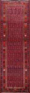 Vintage-Paisley-Hand-knotted-Geometric-Runner-Rug-Wool-Oriental-Carpet-4-039-x9-039