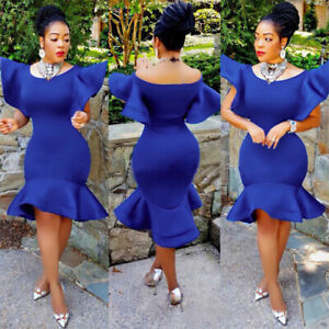 Women-Fishtail-Bodycon-Off-Shoulder-Mini-Dress-Bridesmaid-Party-Formal-Ball-Gown