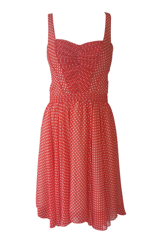 ZAC POSEN 100% Silk rot Weiß Polka Dot Vintage Style Pin-Up Dress (10)