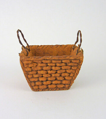 Closeout Dollhouse Miniature Clay Basket Weave Squared Planter 61340A