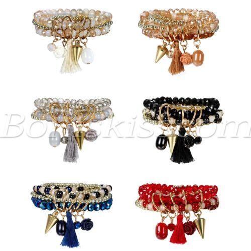 Womens Bohemian Tassels Crystal Bead Stretch Multi-layer Bracelets Wristband Set