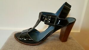 Biala-Italian-Black-Patent-leather-Open-Toe-Strappy-Sandal-9-M-high-heel-Italy