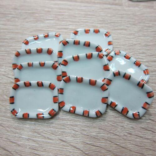 10 Orange Striped Rectangle Plate Dollhouse Miniatures Ceramic Hand Painted
