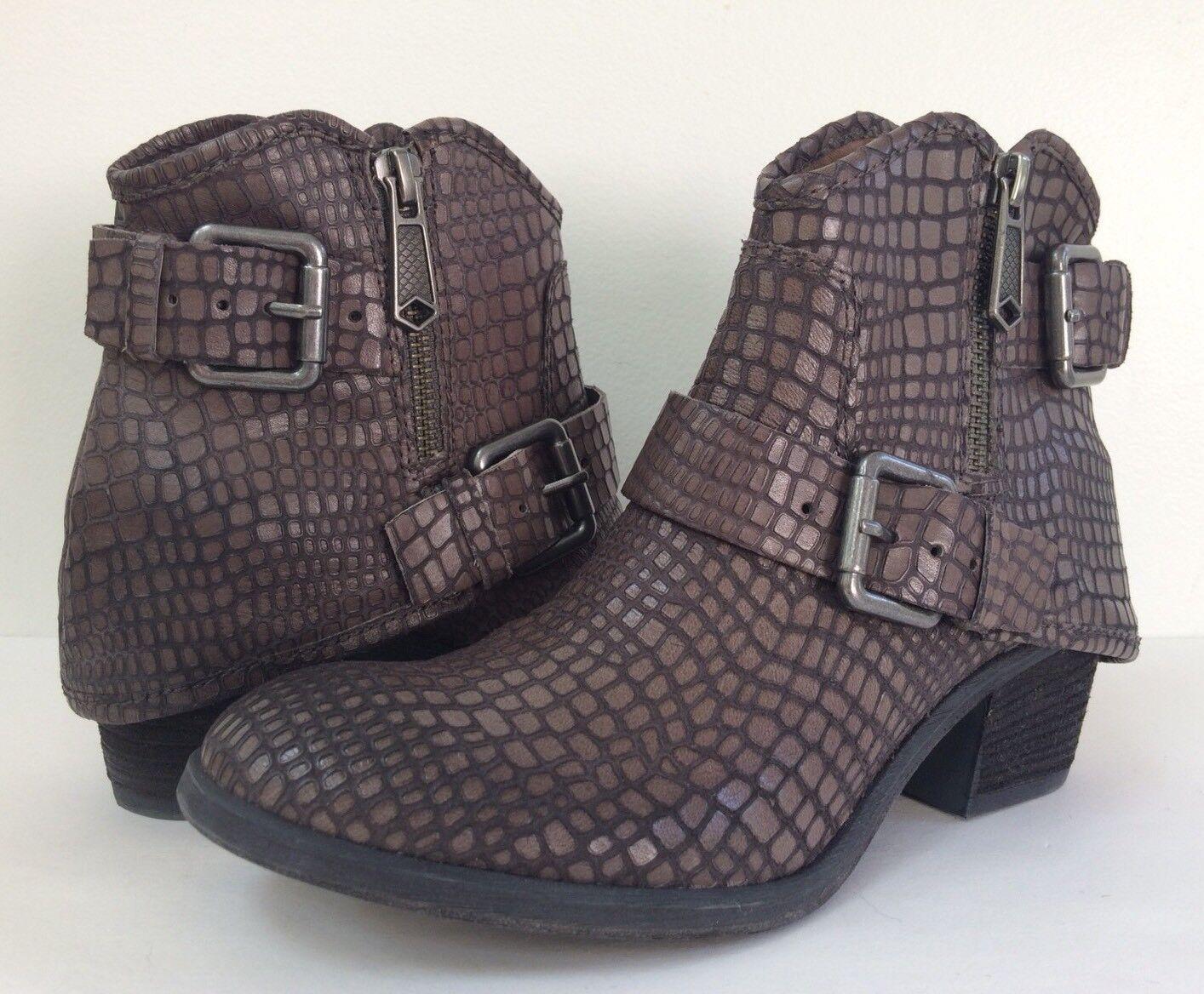 New Donald Pliner 5.5M Dalis Vintage Python Ankle Riding Charcoal stivali avvioies