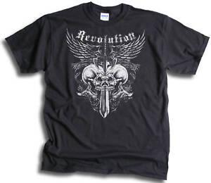 Biker-Goth-Gothic-Revolution-Skulls-Wings-Mens-Womens-T-shirts-Sm-3XL