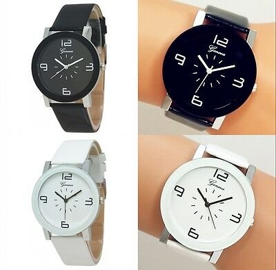 New Hot Fashion Women/Men Unisex GENEVA Leather Quartz White Black Wrist Watch