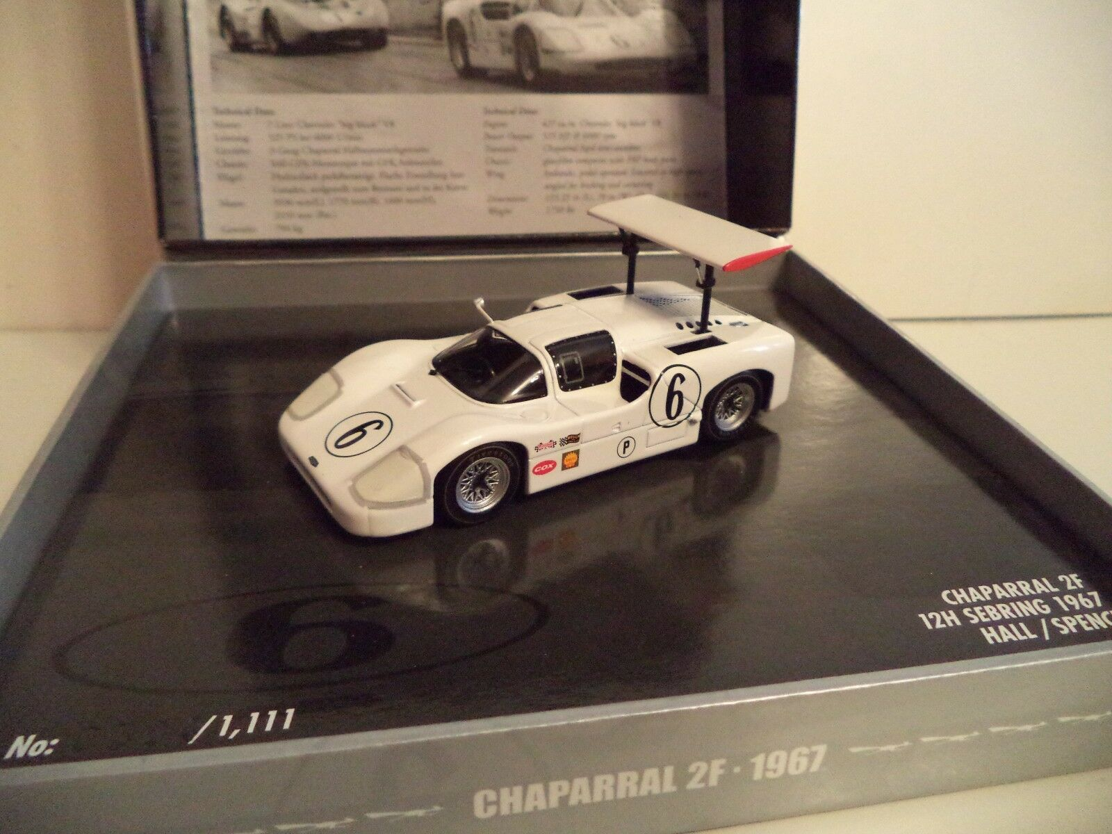 MINICHAMPS CHAPPARRAL 2F 12HR SEBRING 1967 EDITION 8   1/43RD SCALE    IN  BOX.
