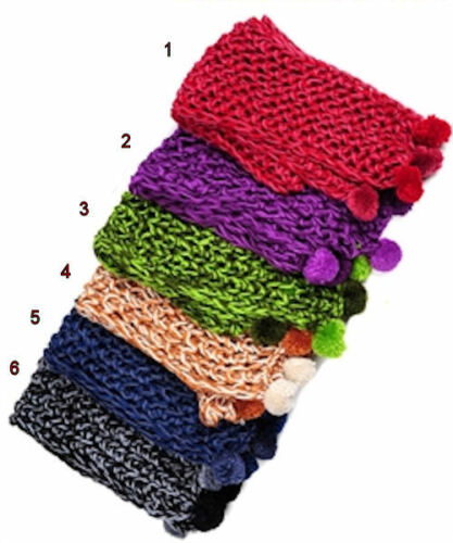 Orange Green Red Knitted Scarf and Beanie Hat Set Charcoal Blue Purple
