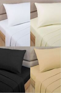 100-Egyptian-Cotton-Flat-Sheets-Single-Double-King-Sizes-Top-Percale-Quality