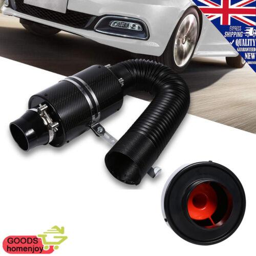 "3/"" Carbon Fiber Cold Air Filter Box Car Intake Enclosed Induction Kit Universal"