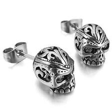 MENDINO Men's Stainless Steel Stud Earrings Cubic Zirconia Skull Gothic Silber