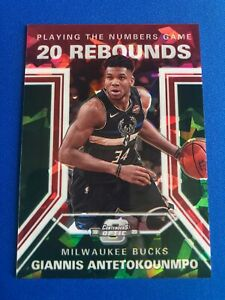 2019-20 Contenders Optic Giannis Antetokounmpo #20 Numbers Red Cracked Ice Prizm