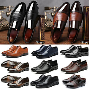 Mens-Classic-Oxfords-Leather-Wedding-Tuxedo-Dress-Business-Office-Shoes-Brogues
