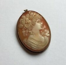 Vintage Hallmarked 9ct 9k Gold Carved Shell Classical Lady Cameo Pendant Brooch