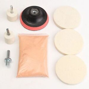 120g-Ceroxid-Polierpulver-5-Polierteller-Polierfilz-M10-fuer-Glaspolitur-Auto