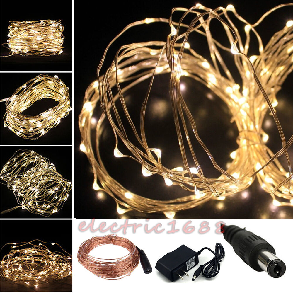 Electric Plug LED String Lights wedding christmas copper wire Cord Fairy Decor eBay