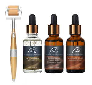 Re Eyes&Face Micro-Needle Derma Roller + 24K Gold + Retinol + Coenzyme Q10