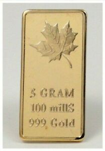5-gram-Pure-999-Gold-Clad-Canadian-Maple-Leaf-Bar-Art-Collectors-Bar