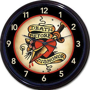Tattoo Old School Wall Clock Military Death Before Dishonor Tat
