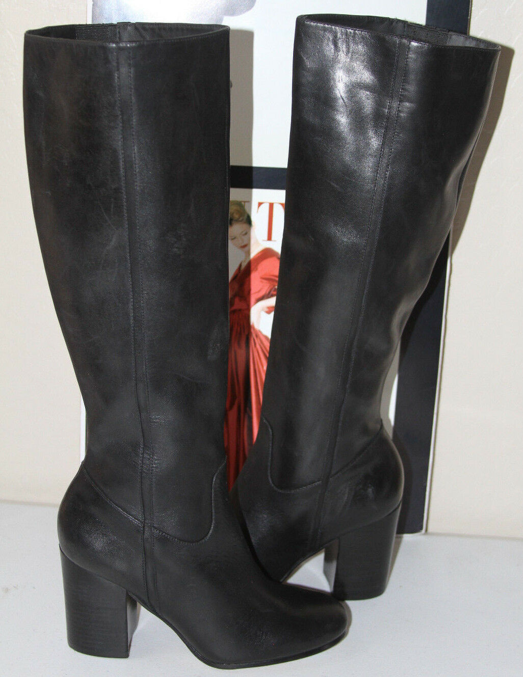 75  VIA SPIGA SOHO BLACK LEATHER KNEE HIGH BOOTS  SZ 6.5  MSRP 495
