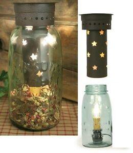 Vintage Primitive Quart Mason Jar Wax Tart Potpourri Warmer Punched Tin STARS