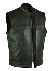 Men's  Leather Vest Outlaws Motorcycle Biker Club Concealed Carry