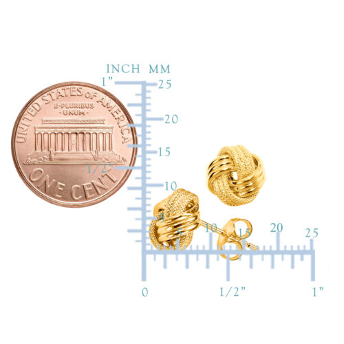 10mm 14K Gold Glänzend Und Texturiert Triple Reihen Liebesknoten Ohrstecker