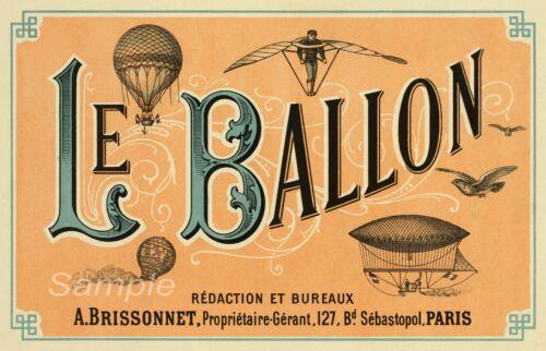 LB02 VINTAGE LE BALLON HOT AIR BALLOON FRENCH ADVERTISING A3 POSTER PRINT
