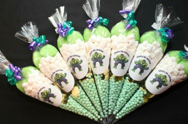 Personalised Themed Pre-filled sweet cones Childrens party bags FREE DELIVERY