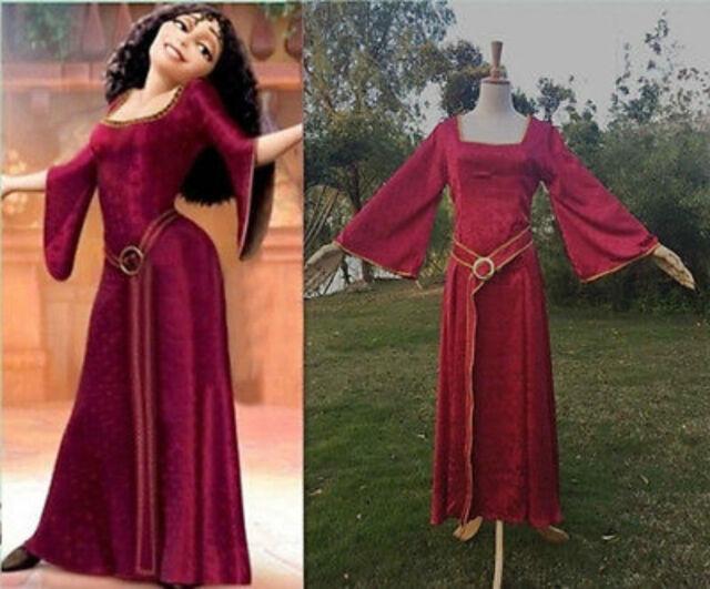 Rapunzel Tangled Princess Mother Gothel Dress Cosplay Costume