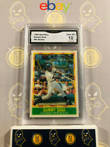 1990-Sportflics-Sammy-Sosa-81-Rookie-10-GEM-MINT-GMA-Graded-Baseball-Card
