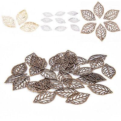 Fashion 50 Pcs Leaves Filigree Metal Crafts Jewelry DIY Accessories Pendant Nice