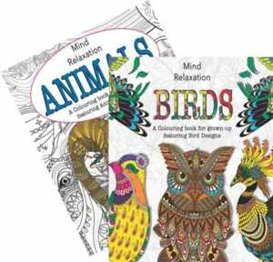(x2) Adult Colouring Book Animals & Birds A4 Size with free pencil crayons!