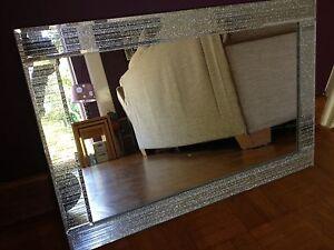 Glitter Silver Mirror Frame Glass Living Room Lounge Bedroom Wall 40x60cm Bli