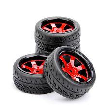 US 4Pcs Rubber Tires&12mm Hex Wheel Rim D6NKR For HSP RC 1/10 On-Road Racing Car
