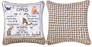 "PILLOWS - ""WHAT WE LEARN FROM CATS"" REVERSIBLE PILLOW - 18"" SQUARE"