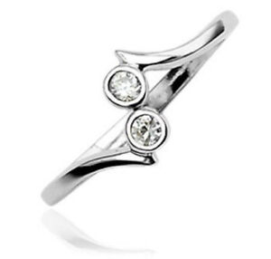 .925-Sterling-Silver-2-Stone-Clear-CZ-GemsToe-Ring (toe-6L)