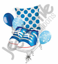 7 pc Baby Boy Shoes Balloon Bouquet Party Decoration Baby Shower Booties Blue