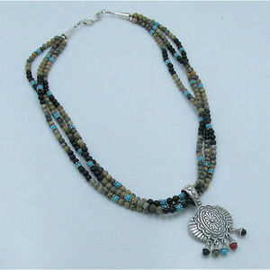 925-Sterling-Silver-Natural-Jasper-Black-Onyx-Blue-Turquoise-Beaded-Necklace