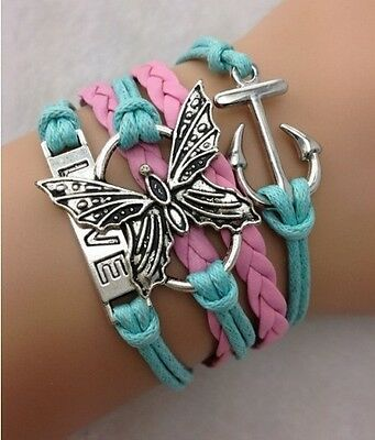 NEW Infinity Love Butterfly Anchor Leather Charm Bracelet plated Silver DIY