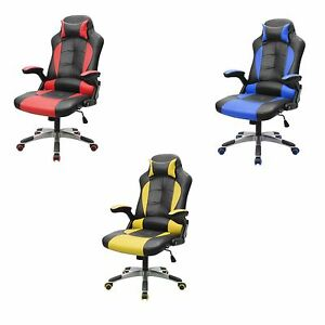 Executive PU Leather High Back Office Desk Race Car Seat Racing Gaming Chair
