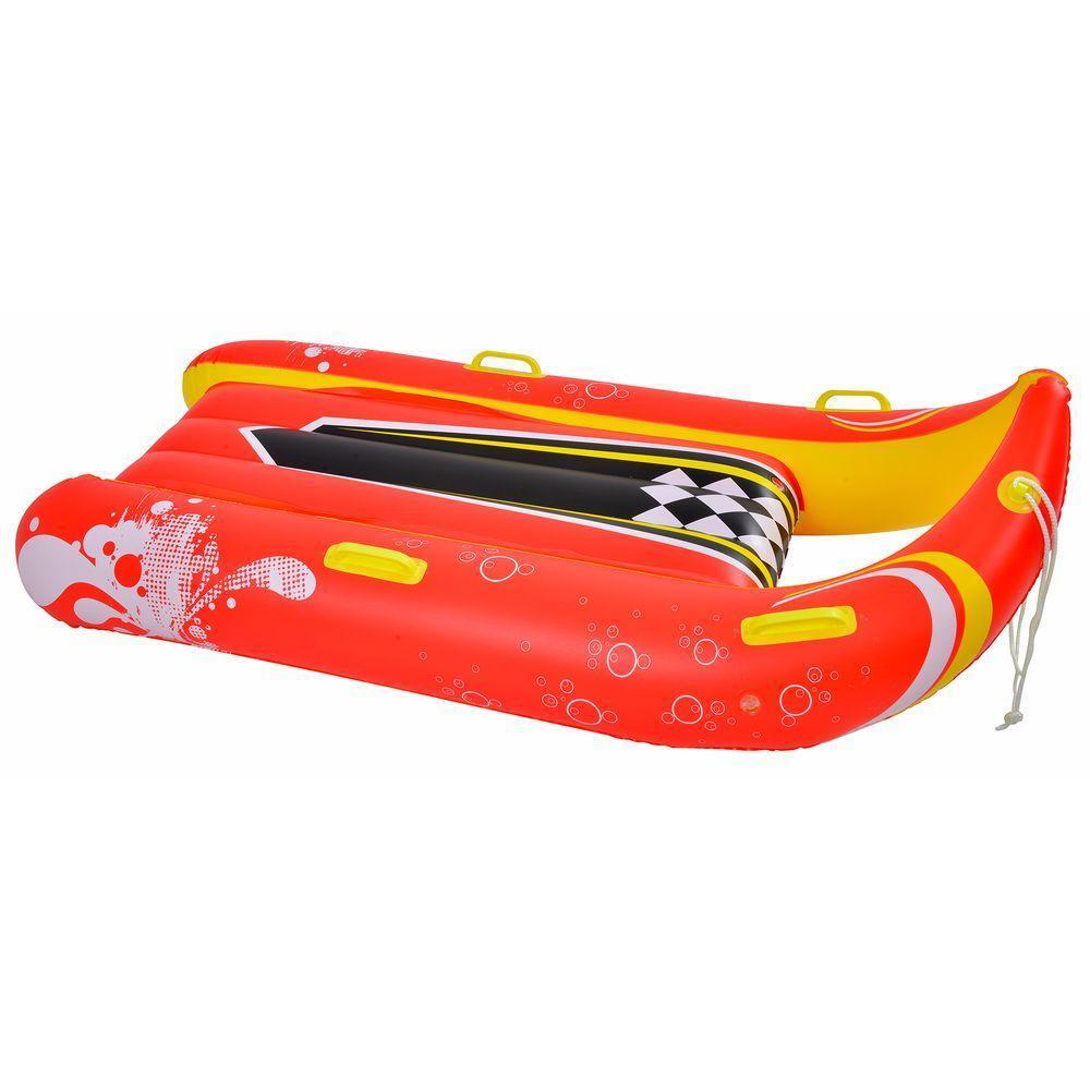 Durable Inflatable Reds Pinks 57 in. 2-Person Snow Sled Winter Snow Gear