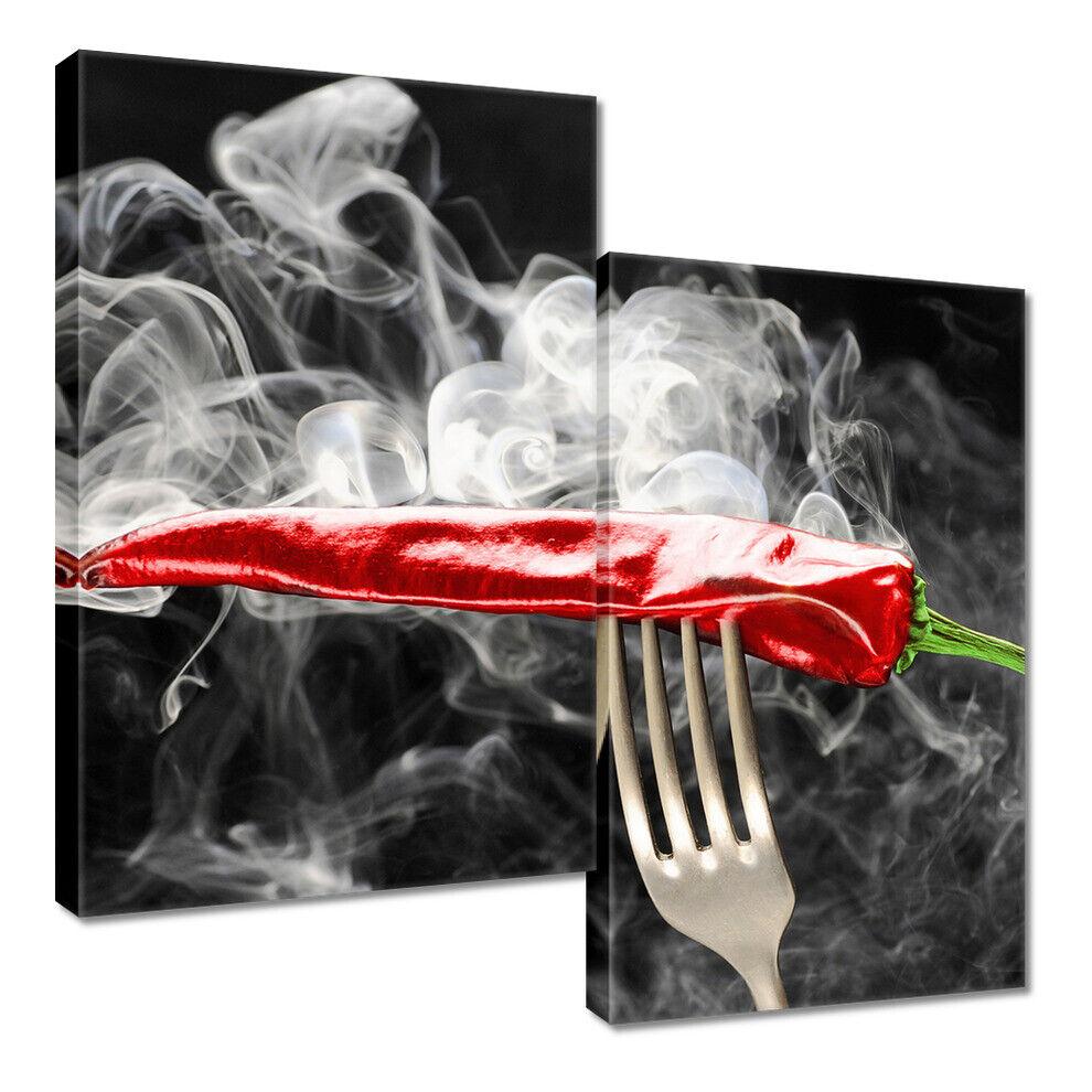 Poster su Tela Stampa Quadro per Cucina Paprica Rosso Peperoncini Forcella
